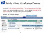 activity using microstrategy features1