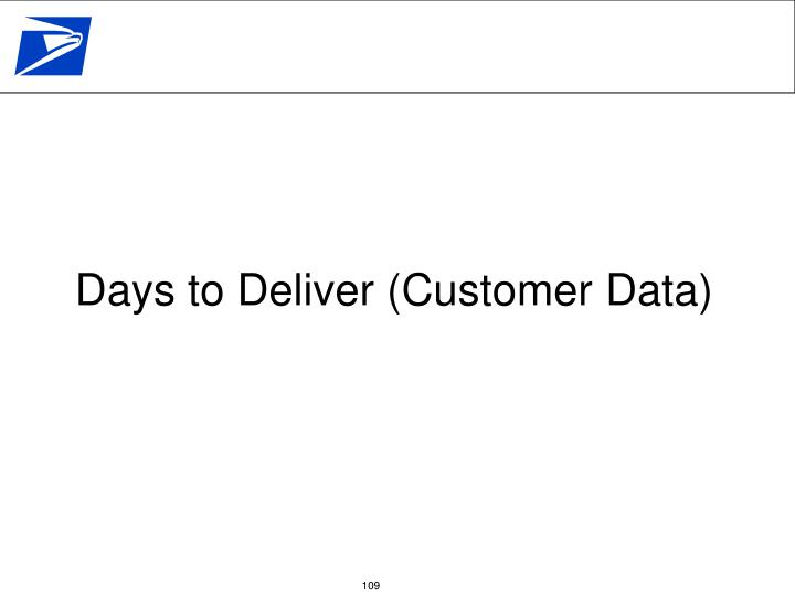 Days to Deliver (Customer Data)