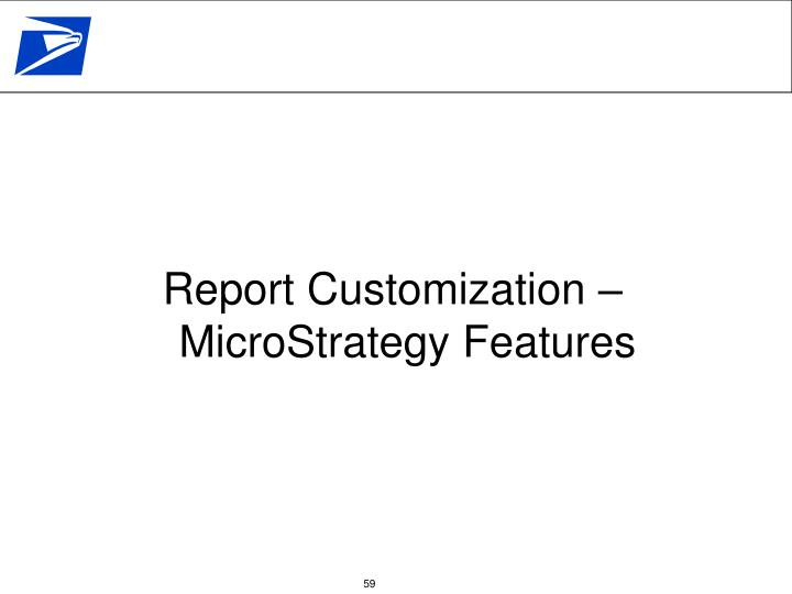 Report Customization – MicroStrategy Features