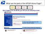 what are the parts of the mt r home page