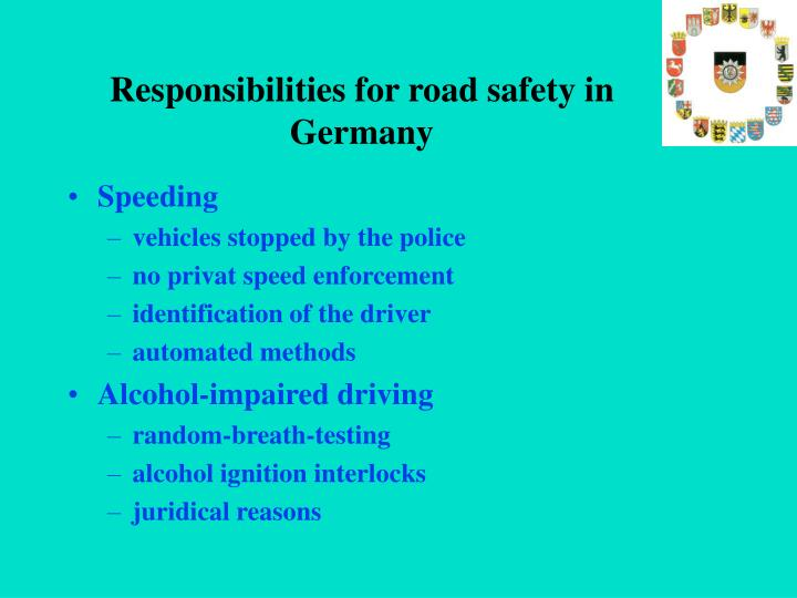 Responsibilities for road safety in Germany