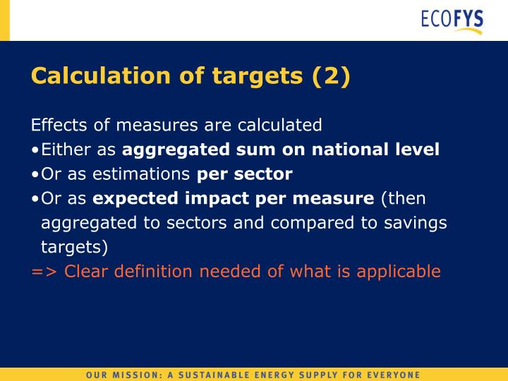 Calculation of targets (2)