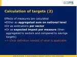calculation of targets 2