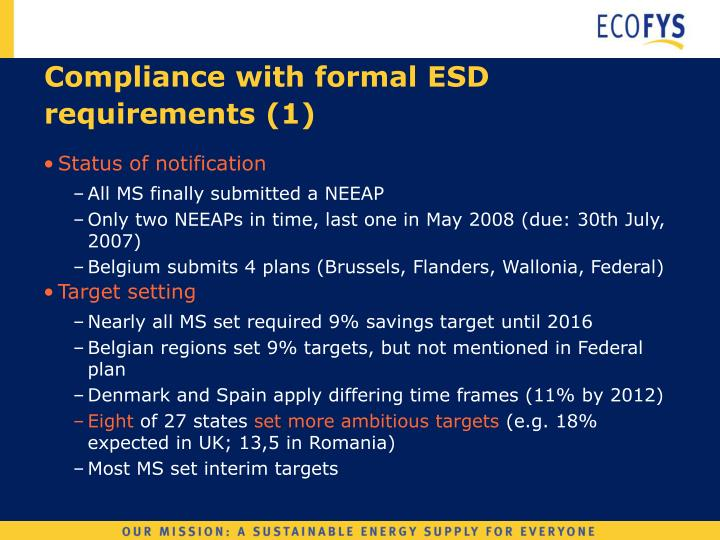 Compliance with formal esd requirements 1