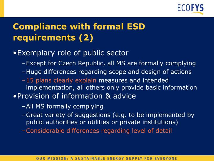Compliance with formal ESD requirements (2)