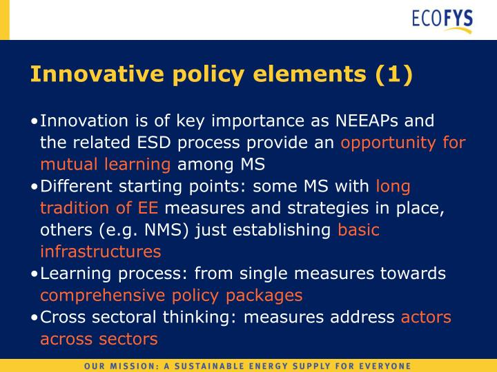 Innovative policy elements (1)