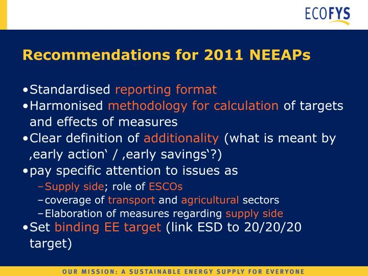 Recommendations for 2011 NEEAPs