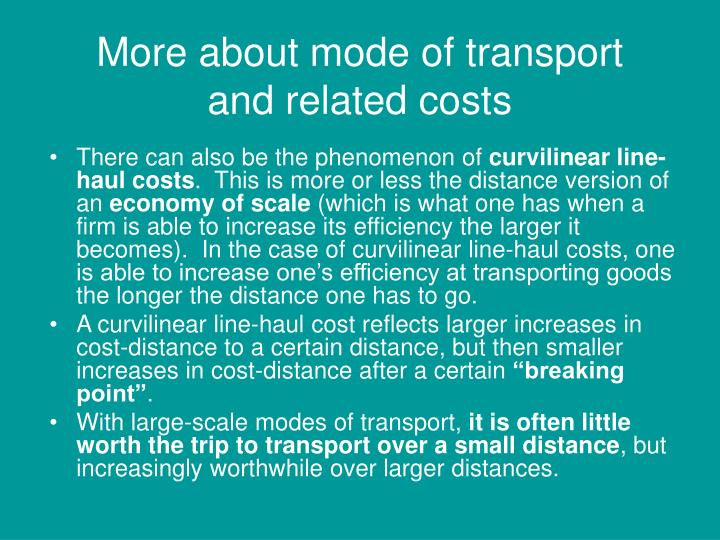 More about mode of transport and related costs