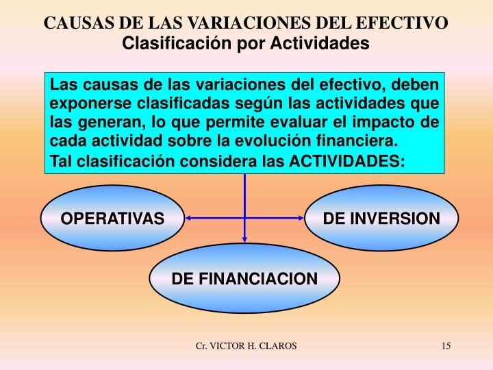 CAUSAS DE LAS VARIACIONES DEL EFECTIVO