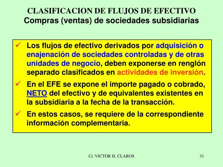 CLASIFICACION DE FLUJOS DE EFECTIVO