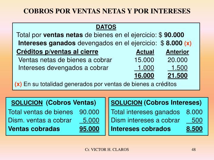 COBROS POR VENTAS NETAS Y POR INTERESES