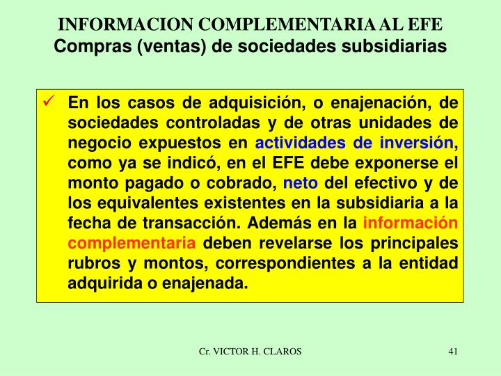 INFORMACION COMPLEMENTARIA AL EFE