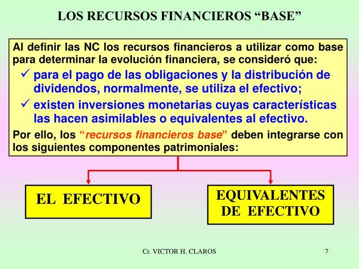 """LOS RECURSOS FINANCIEROS """"BASE"""""""