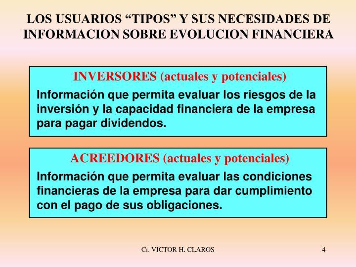 """LOS USUARIOS """"TIPOS"""" Y SUS NECESIDADES DE INFORMACION SOBRE EVOLUCION FINANCIERA"""