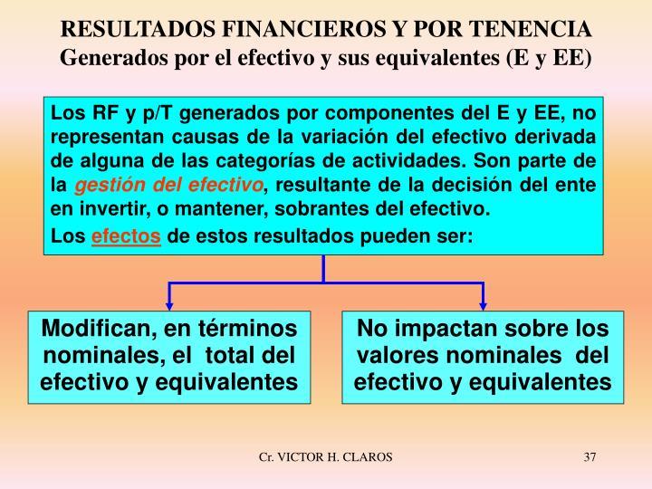 RESULTADOS FINANCIEROS Y POR TENENCIA Generados por el efectivo y sus equivalentes (E y EE)