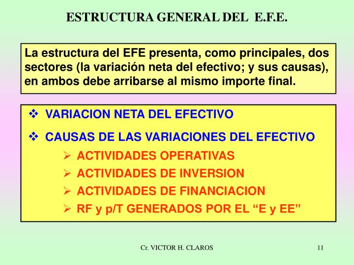 La estructura del EFE presenta, como principales, dos sectores (la variación neta del efectivo; y sus causas), en ambos debe arribarse al mismo importe final.