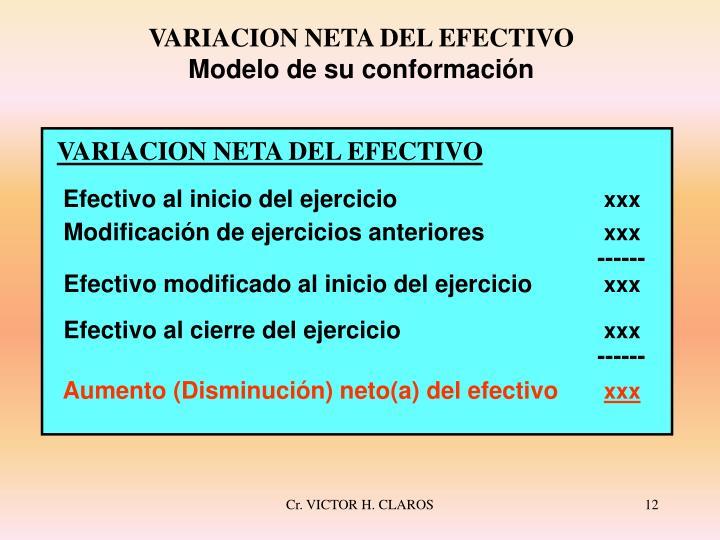 VARIACION NETA DEL EFECTIVO