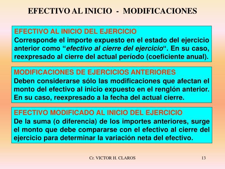 EFECTIVO AL INICIO  -  MODIFICACIONES