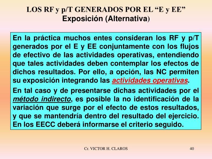 """LOS RF y p/T GENERADOS POR EL """"E y EE"""""""
