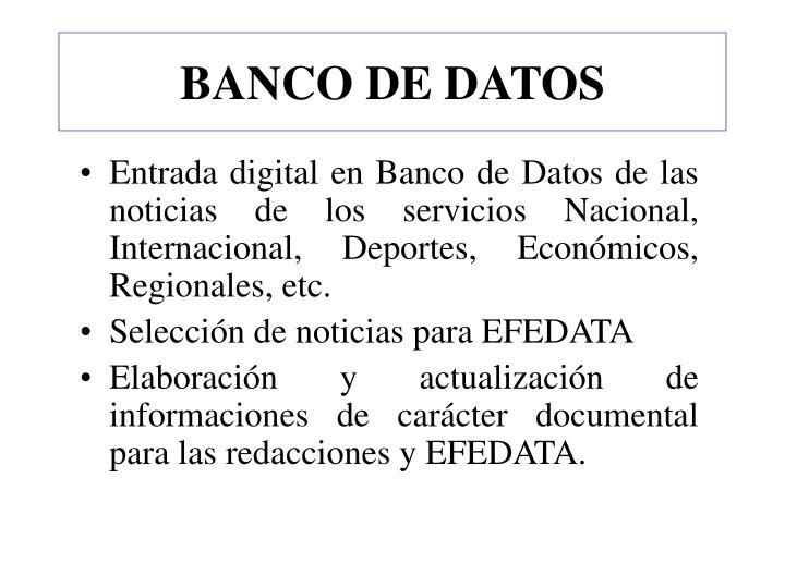 BANCO DE DATOS