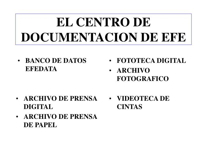 EL CENTRO DE DOCUMENTACION DE EFE