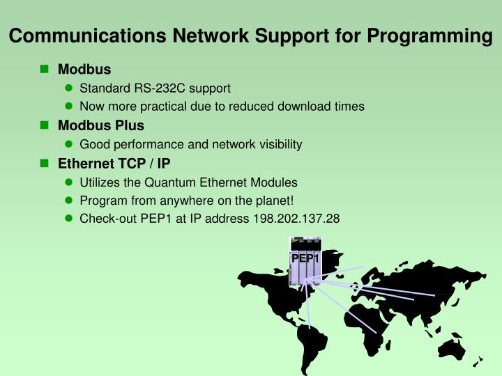 Communications Network Support for Programming