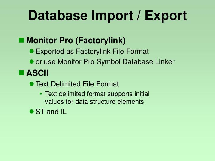 Database Import / Export