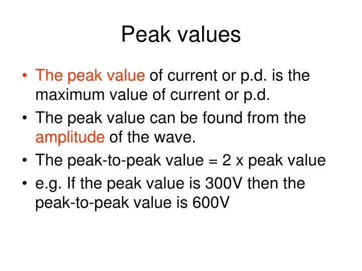 Peak values