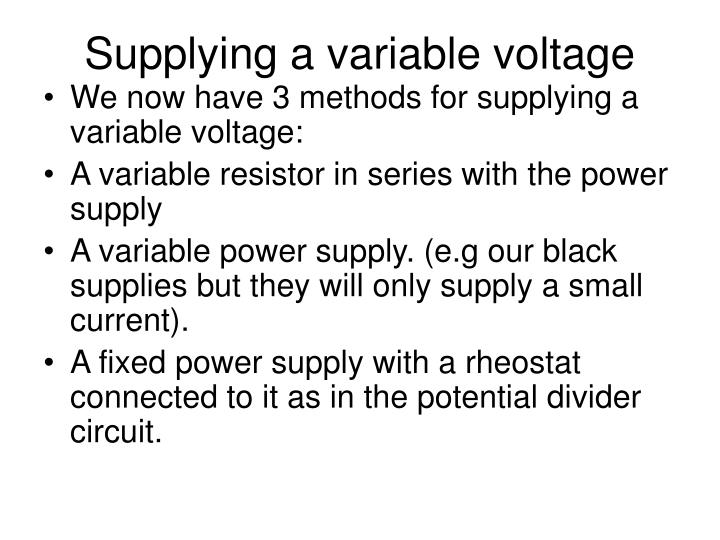 Supplying a variable voltage