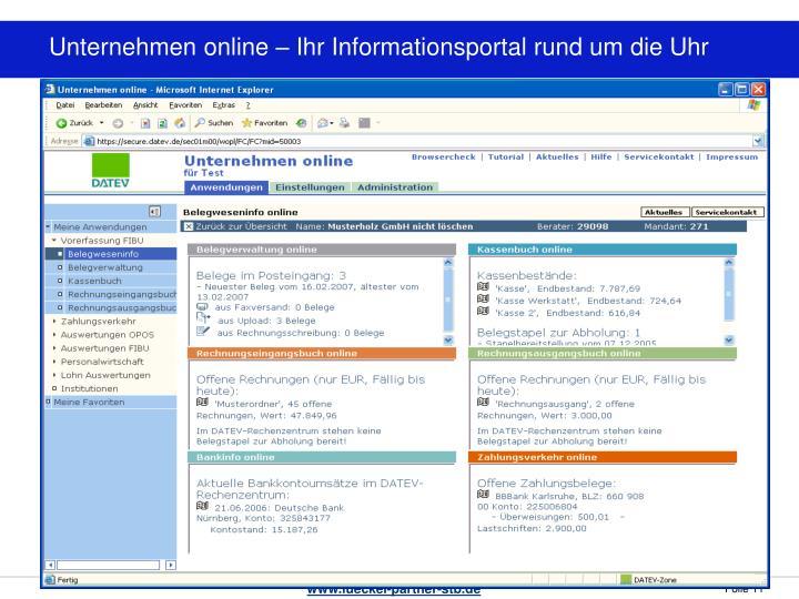 Unternehmen online – Ihr Informationsportal rund um die Uhr