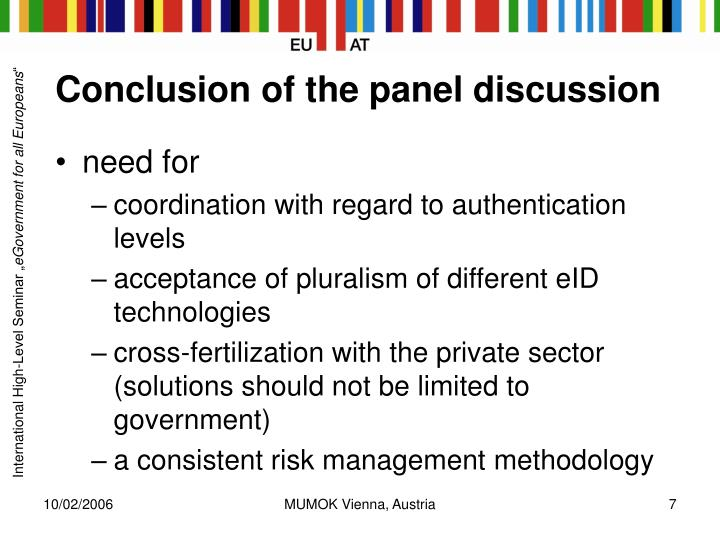 Conclusion of the panel discussion