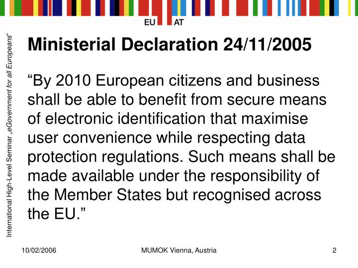 Ministerial declaration 24 11 2005