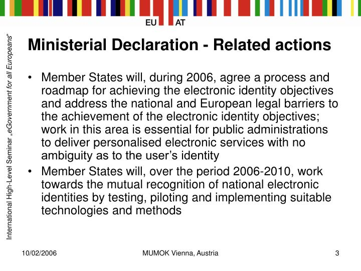 Ministerial declaration related actions
