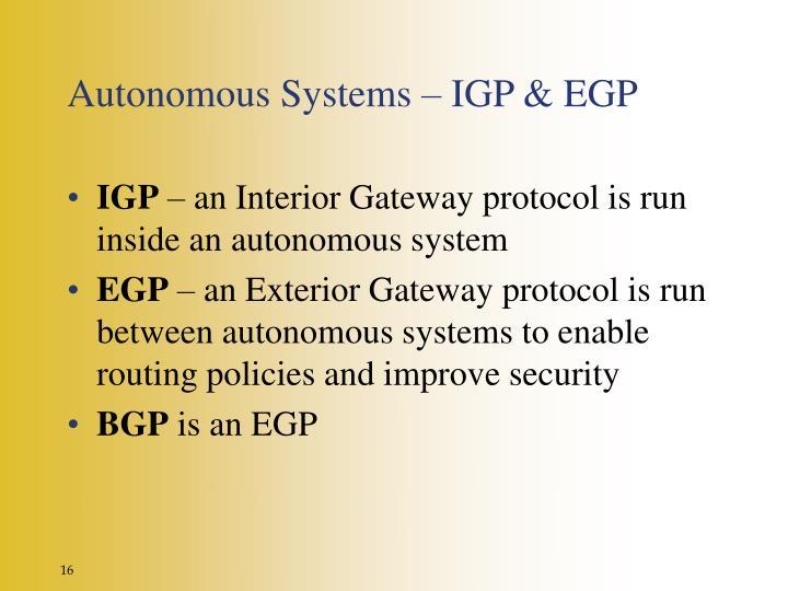 Autonomous Systems – IGP & EGP