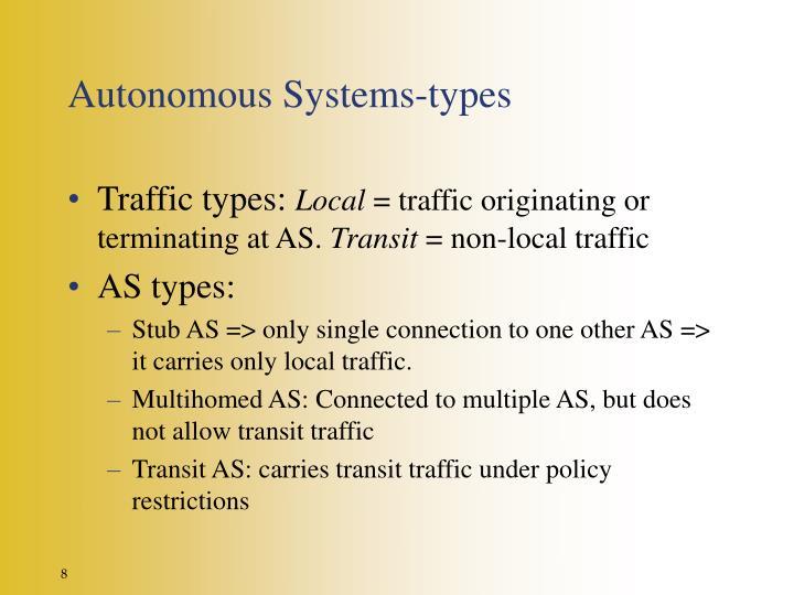 Autonomous Systems-types