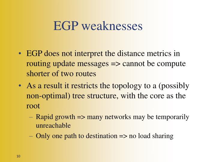 EGP weaknesses