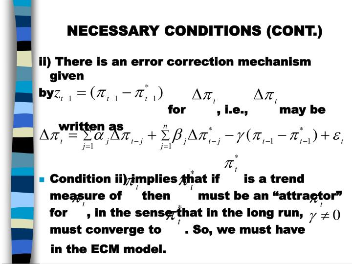 NECESSARY CONDITIONS (CONT.)