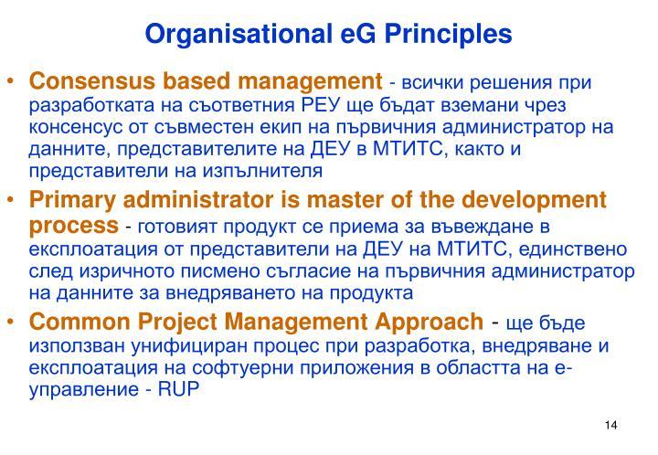 Organisational eG Principles