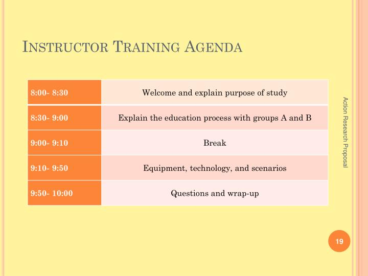 Instructor Training Agenda