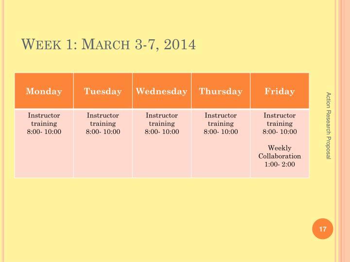 Week 1: March 3-7, 2014