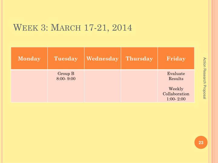 Week 3: March 17-21, 2014