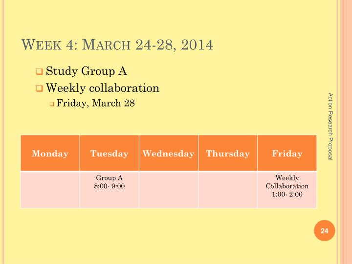 Week 4: March 24-28, 2014