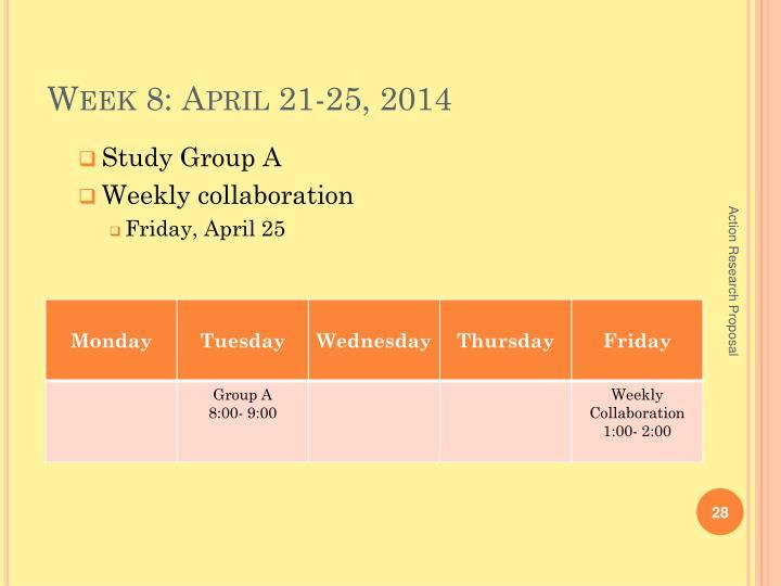 Week 8: April 21-25, 2014