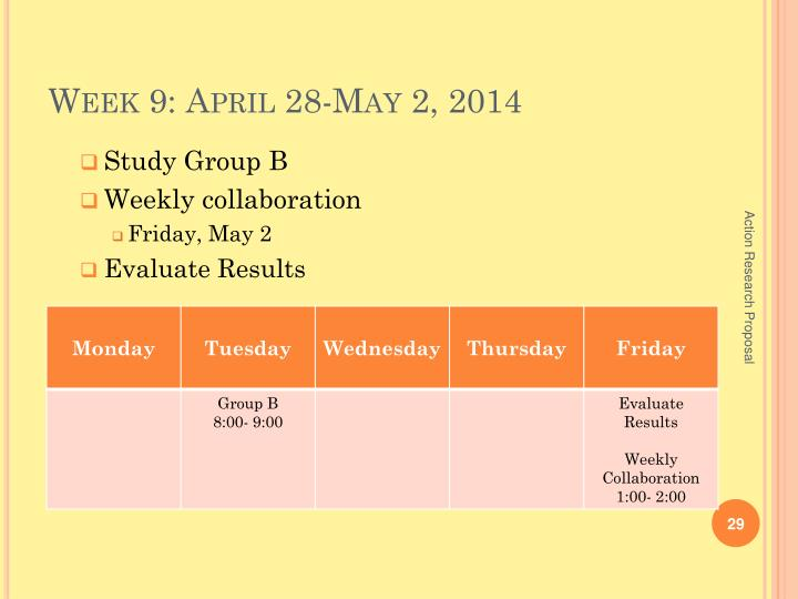Week 9: April 28-May 2, 2014