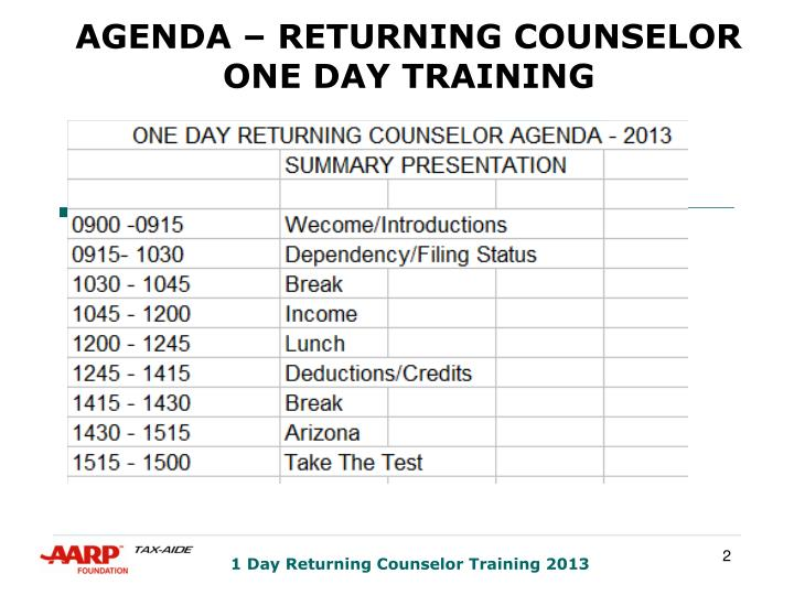 Agenda returning counselor one day training