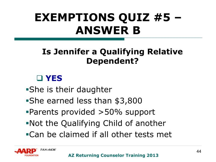 EXEMPTIONS QUIZ #5 – ANSWER B