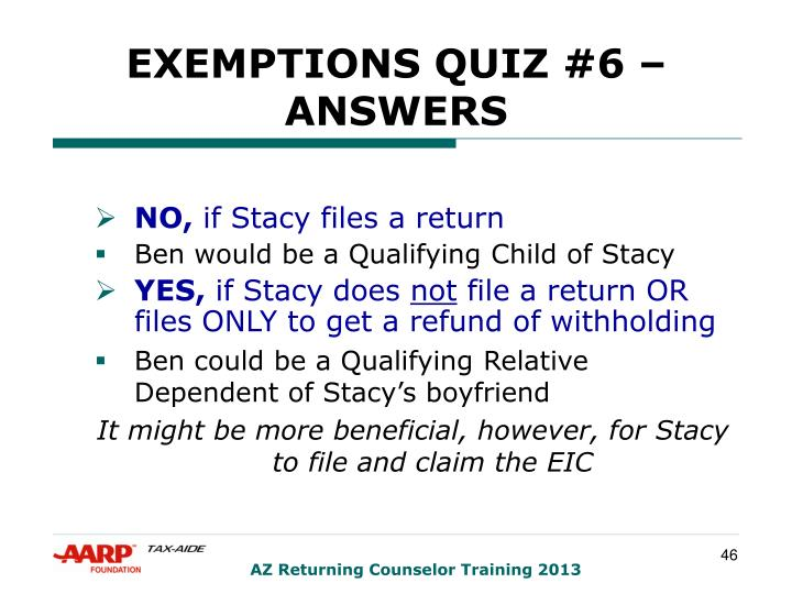 EXEMPTIONS QUIZ #6 – ANSWERS