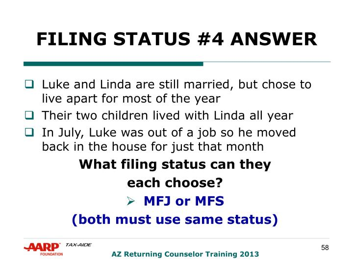 FILING STATUS #4 ANSWER