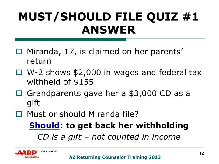 MUST/SHOULD FILE QUIZ #1 ANSWER