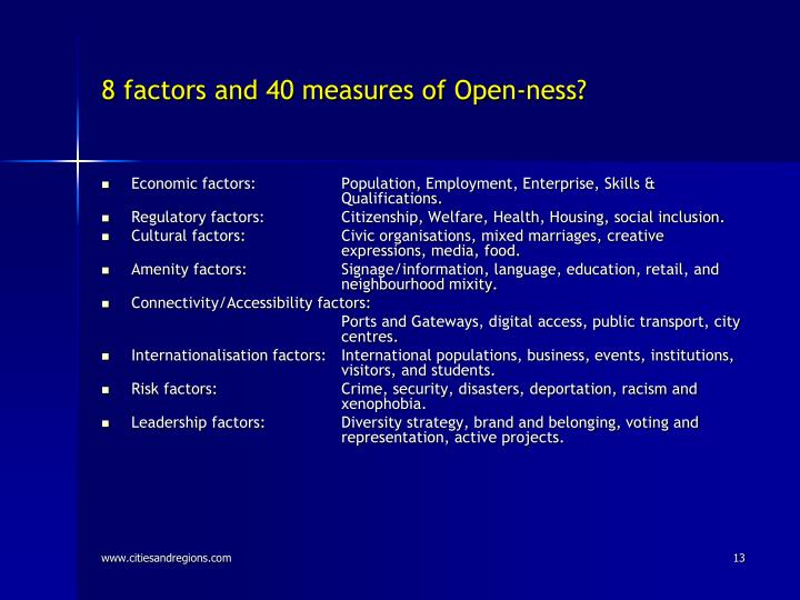 8 factors and 40 measures of Open-ness?